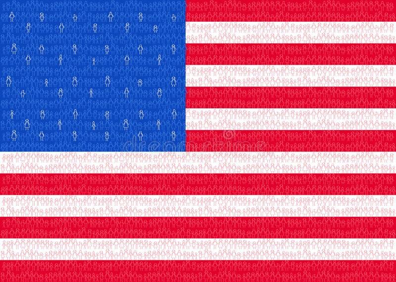 Los E.E.U.U., bandera americana con la gente del palillo, ciudadanos, gráfico conceptual, muchedumbre de palillo blanco rojo y ho libre illustration