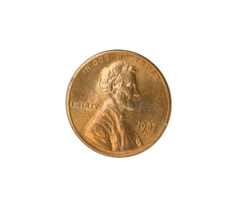 Los E.E.U.U. brillantes una moneda del centavo en blanco foto de archivo