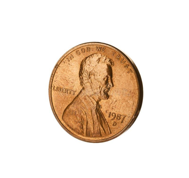 Los E.E.U.U. brillantes una moneda del centavo en blanco imágenes de archivo libres de regalías