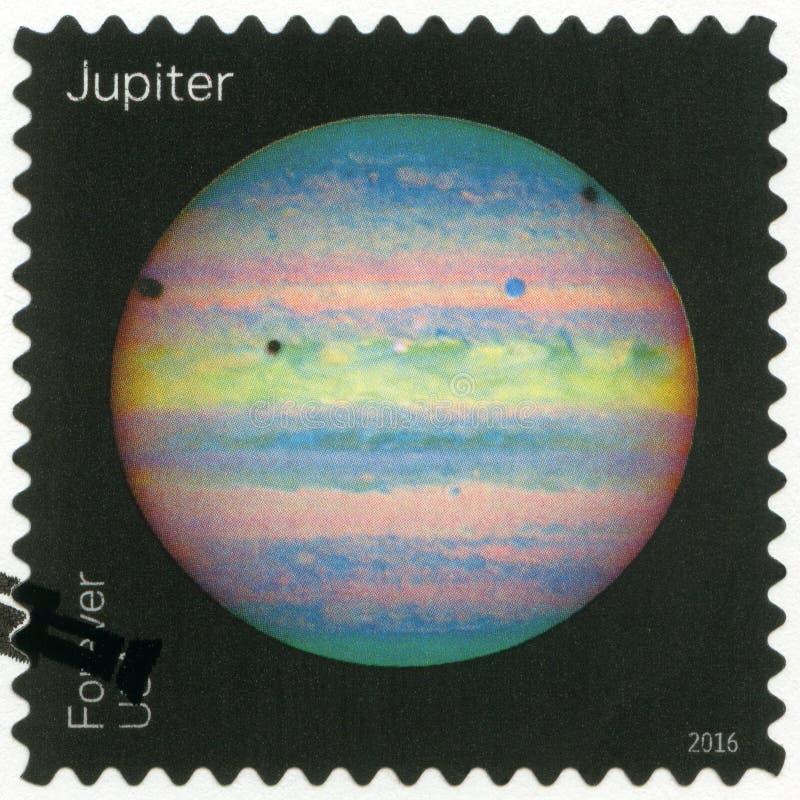 LOS E.E.U.U. - CIRCA 2016: muestra el Júpiter, opiniones de la serie de nuestros planetas fotos de archivo libres de regalías