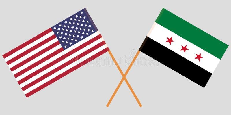 Los E.E.U.U. cruzados y banderas nacionales sirias de la coalición Colores oficiales Proporción correcta Vector ilustración del vector