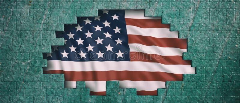 Los E.E.U.U. de la bandera de América detrás de un agujero verde del muro de cemento ilustración 3D libre illustration