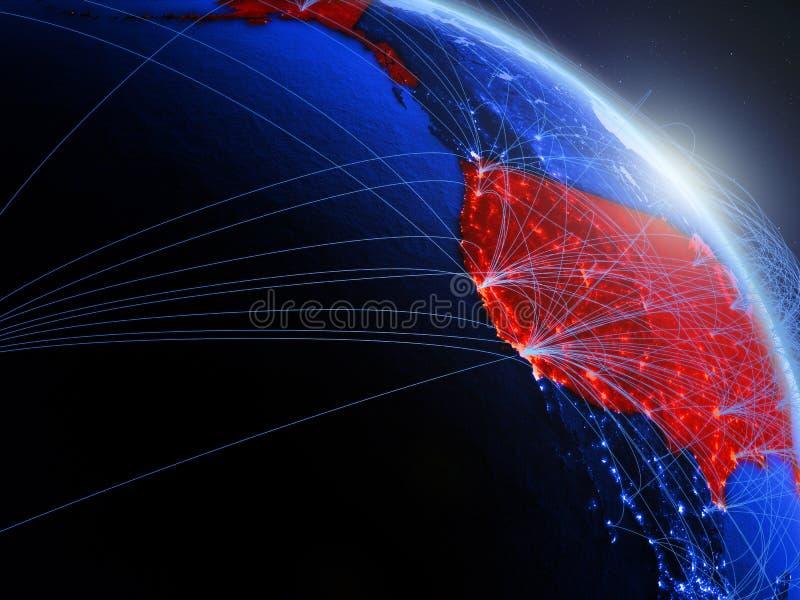 Los E.E.U.U. en el globo digital azul azul ilustración del vector