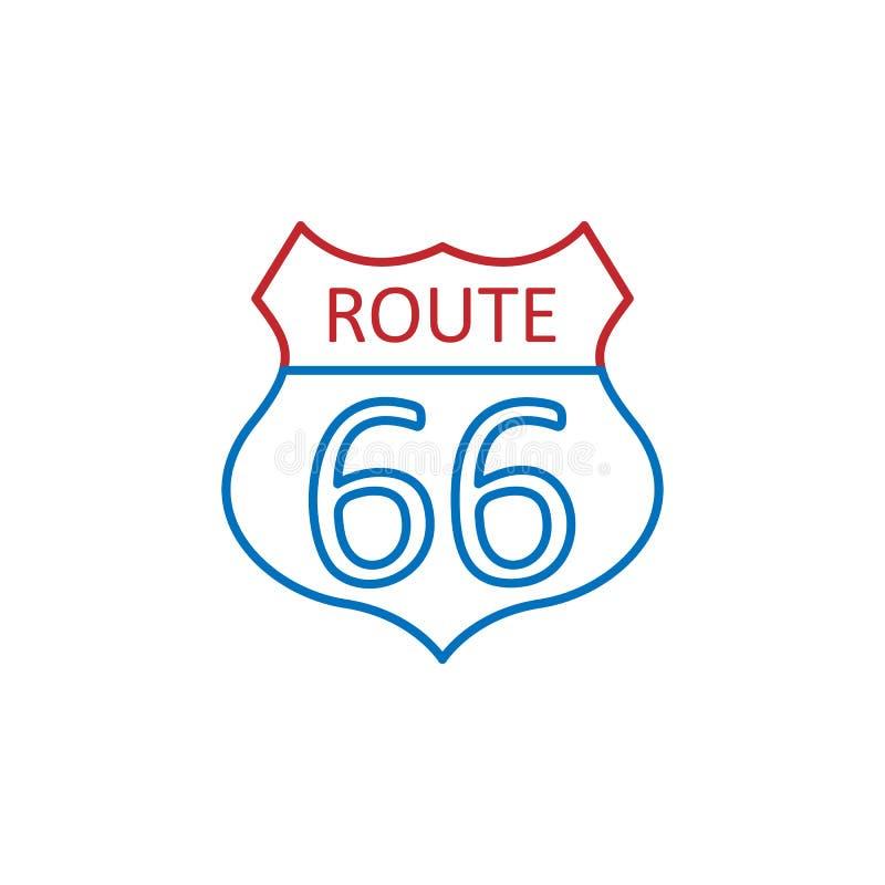 Los E.E.U.U., icono de la ruta 66 Elemento del icono de la cultura de los E.E.U.U. L?nea fina icono para el dise?o y el desarroll ilustración del vector