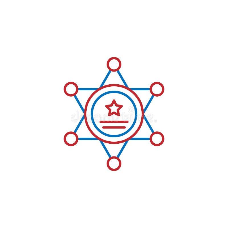 Los E.E.U.U., icono del sheriff Elemento del icono de la cultura de los E.E.U.U. L?nea fina icono para el dise?o y el desarrollo, stock de ilustración
