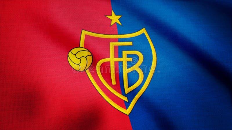 Los E.E.U.U. - NUEVA YORK, el 12 de agosto de 2018: Bandera que agita con el logotipo del club del fútbol del FC Basel Primer de  fotografía de archivo