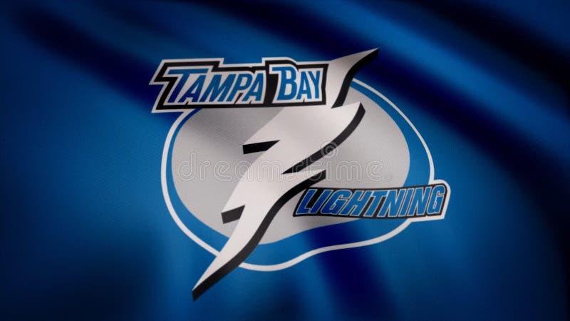 Los E.E.U.U. - NUEVA YORK, el 12 de agosto de 2018: Bandera que agita con el logotipo del equipo de hockey del NHL del Tampa Bay  foto de archivo libre de regalías