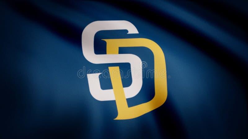 Los E.E.U.U. - NUEVA YORK, el 12 de agosto de 2018: Bandera que agita con el logotipo profesional del equipo de San Diego Padres  fotografía de archivo
