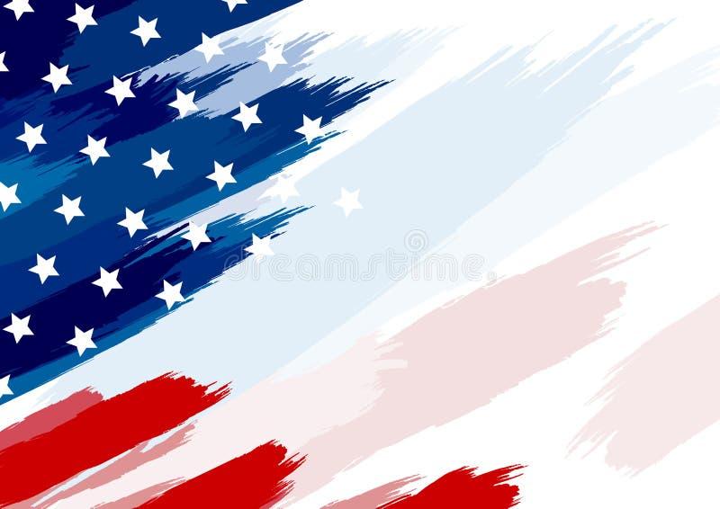 Los E.E.U.U. o brocha de la bandera americana en el ejemplo blanco del vector del fondo