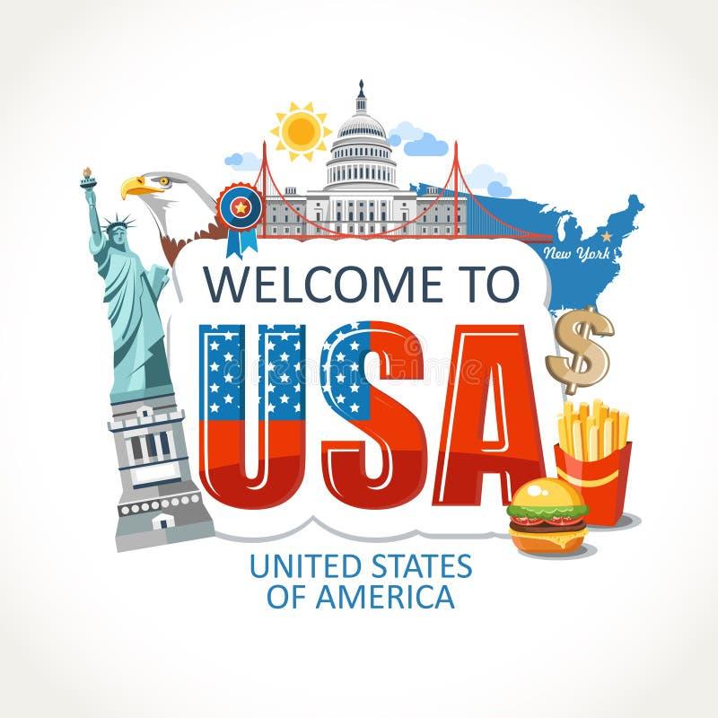 Los E.E.U.U. que ponen letras a la señal de la cultura de los símbolos de las vistas para imprimir ilustración del vector