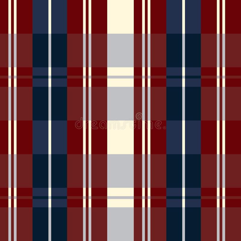 Los E.E.U.U. retros colorean la tela escocesa beige del estilo y roja azul inconsútil de la moda stock de ilustración