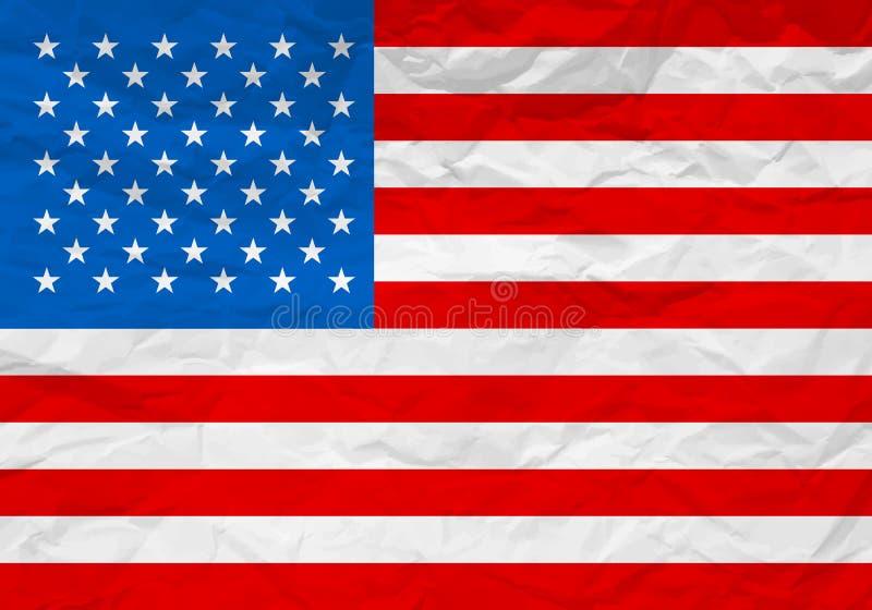 Los E.E.U.U. señalan el papel por medio de una bandera arrugado stock de ilustración