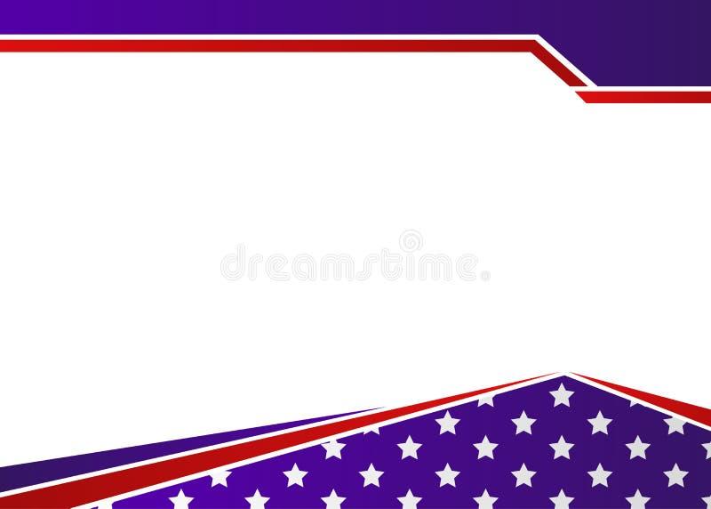 Los E.E.U.U. señalan la frontera por medio de una bandera patriótica temática stock de ilustración
