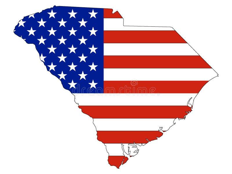 Los E.E.U.U. señalan por medio de una bandera combinado con el mapa del estado federal de los E.E.U.U. de Carolina del Sur stock de ilustración