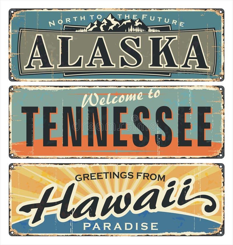 LOS E.E.U.U. Todos los estados alaska tennessee hawaii Recuerdos retros El papel viejo de la foto amarilleó stock de ilustración