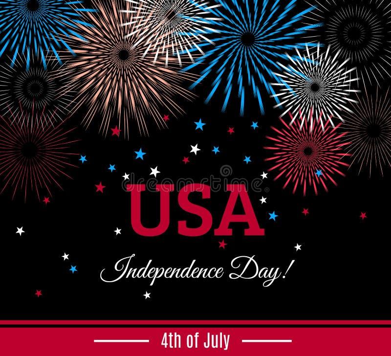 Los E.E.U.U. 4tos del cartel del Día de la Independencia de julio, de la bandera o de la tarjeta de felicitación con los fuegos a libre illustration