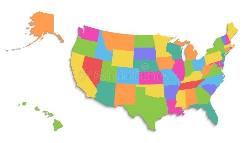 Los E.E.U.U. trazan con el mapa de Alaska y de Hawaii, nuevo mapa detallado político, estados individuales separados, con los nom ilustración del vector