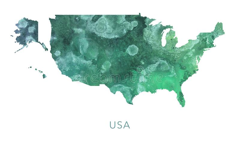 Los E.E.U.U. trazan el modelo verde de la acuarela, arriba detallado libre illustration