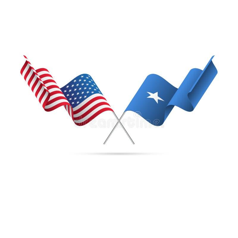 Los E.E.U.U. y banderas de Somalia Ilustración del vector ilustración del vector
