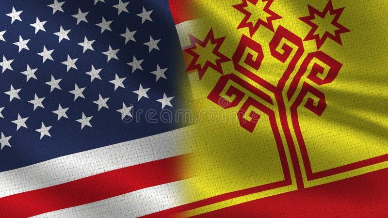 Los E.E.U.U. y banderas realistas de Chuvashia medias junto ilustración del vector