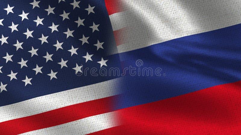 Los E.E.U.U. y banderas realistas de Rusia medias junto foto de archivo libre de regalías