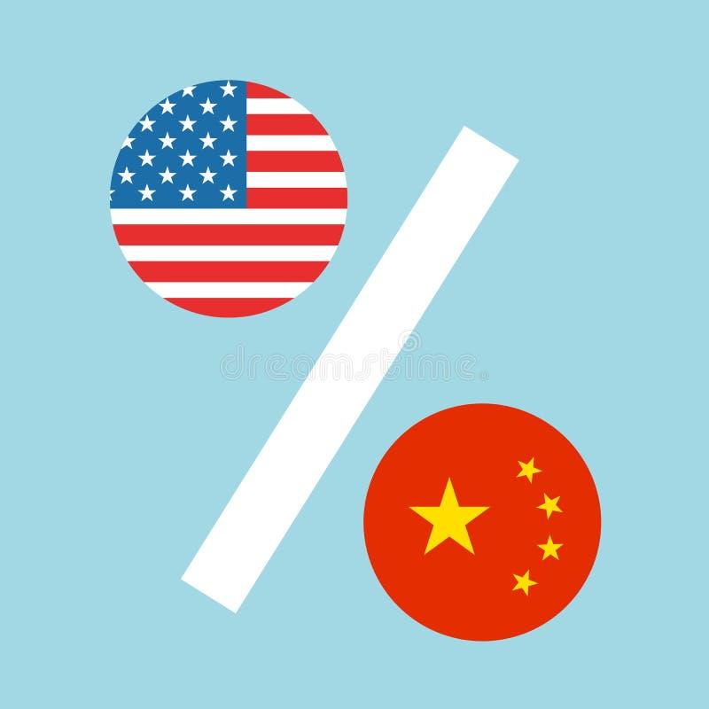 Los E.E.U.U. y China como porcentajes stock de ilustración