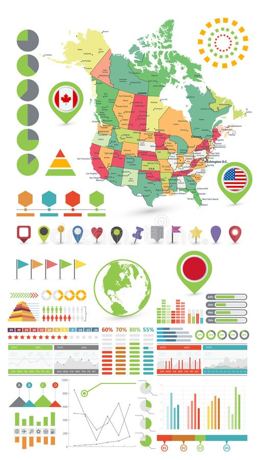 Los E.E.U.U. y el mapa e Infographics de Canadá diseñan elementos En blanco ilustración del vector