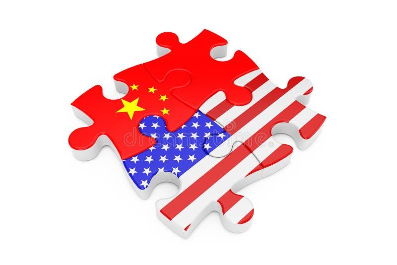Los E.E.U.U. y rompecabezas de la cooperación de China como banderas representaci?n 3d foto de archivo