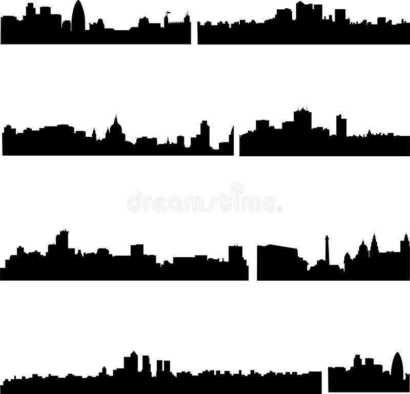Los edificios altos en Británicos ilustración del vector