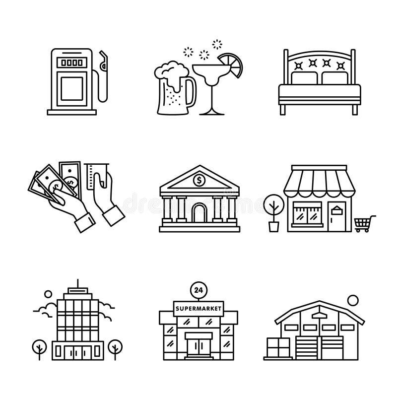 Los edificios comerciales cantan el sistema libre illustration