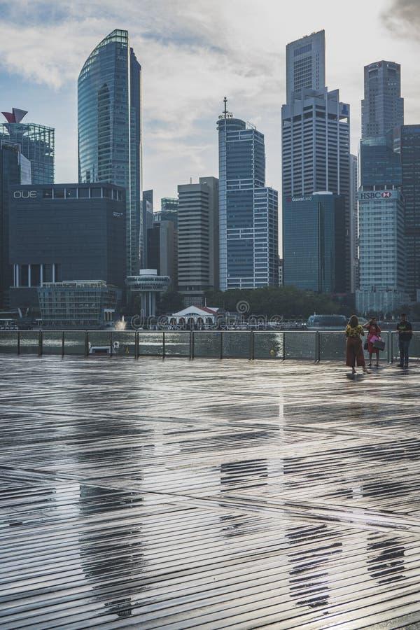 Los edificios de CBD vistos de Marina Bay Sands foto de archivo