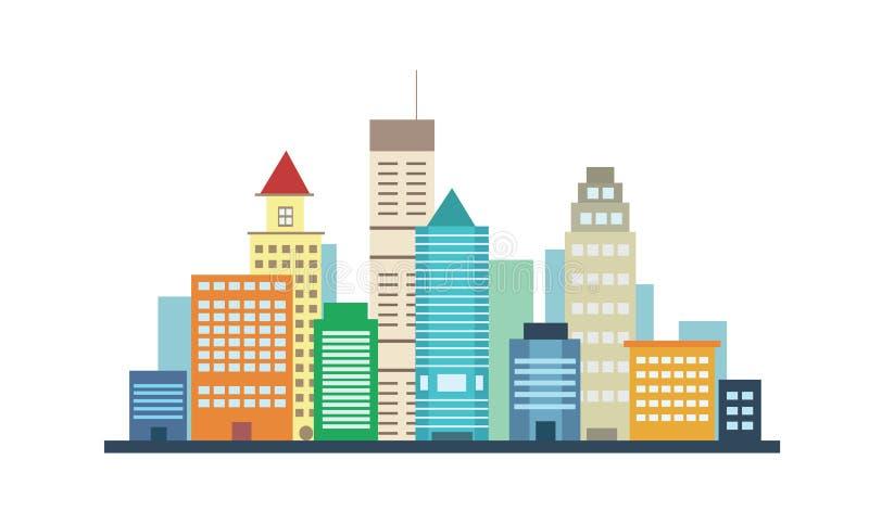 Los edificios de la ciudad ajardinan la opinión sobre el fondo blanco ilustración del vector