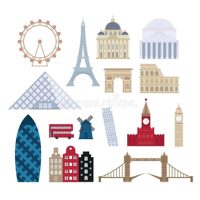 Los edificios del turismo de Eurotrip, viajan los mundos famosos que los monumentos diseñan y arquitectura euro de la aventura de stock de ilustración