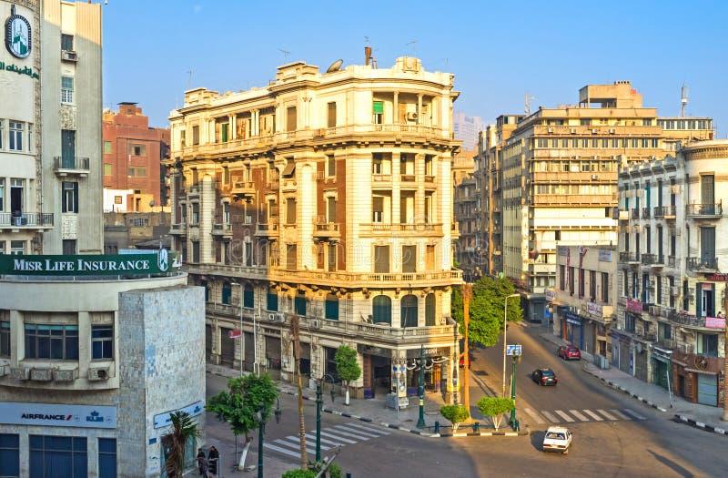 Los edificios en el cuadrado de Talaat Harb imagen de archivo libre de regalías