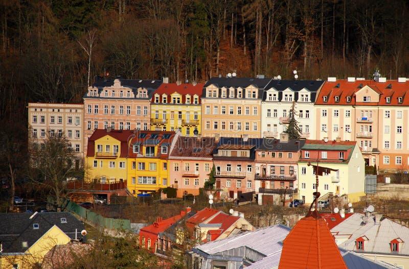 Los edificios en Karlovy varían, República Checa fotografía de archivo libre de regalías