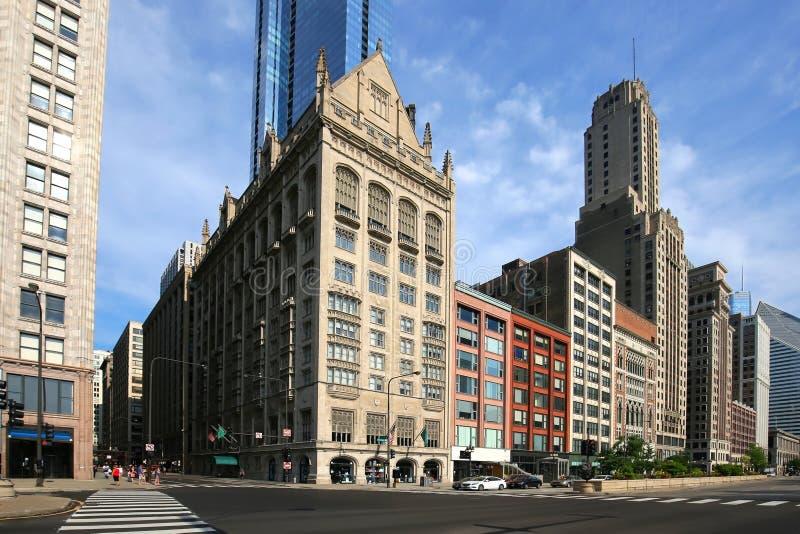 Los edificios hermosos muestran la belleza de Chicago céntrica fotografía de archivo