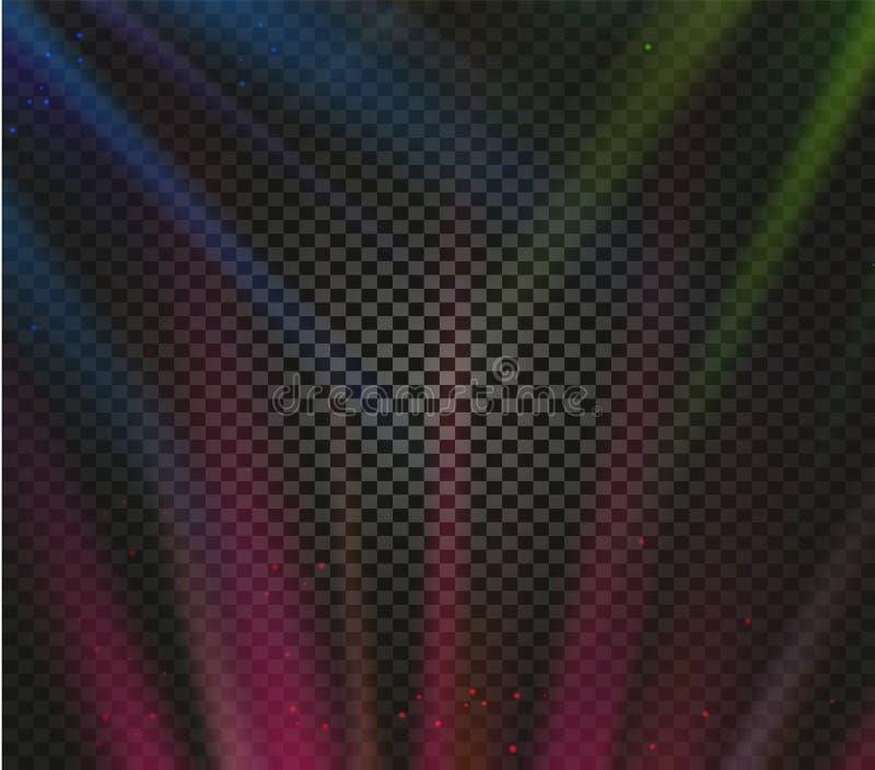 Los efectos luminosos coloridos del vector brillante, brillando intensamente emiten en el fondo a cuadros, ejemplo del vector de  libre illustration