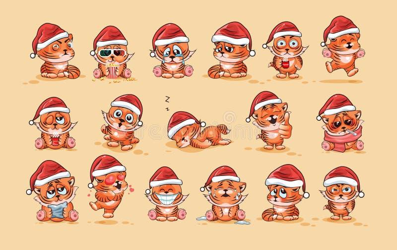 Los ejemplos aislaron emoticons de la etiqueta engomada del cachorro de tigre de la historieta del carácter de Emoji con diversas libre illustration