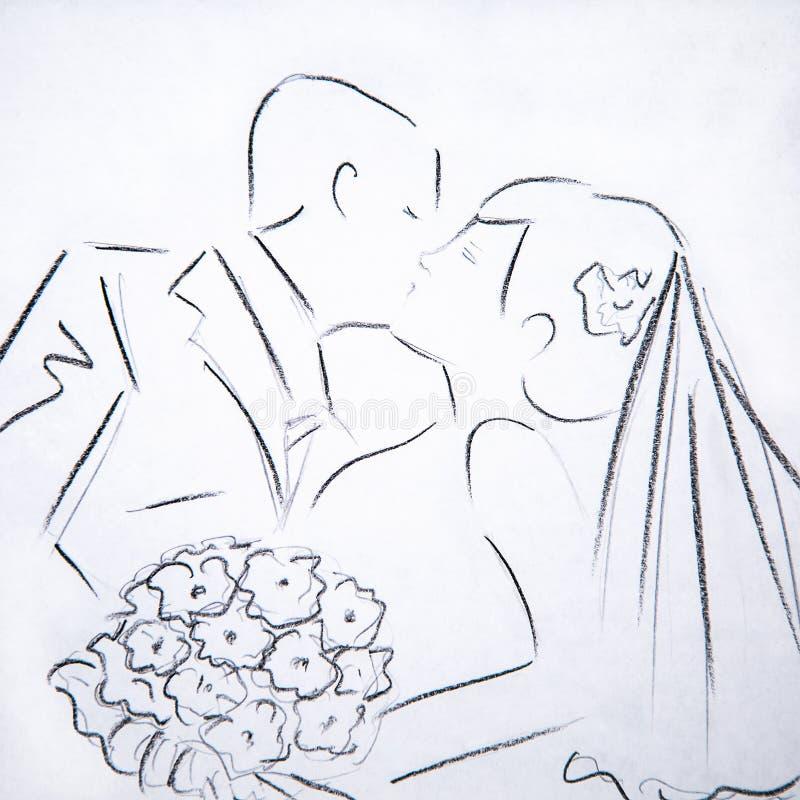 Los ejemplos de la silueta besan la novia y al novio ilustración del vector