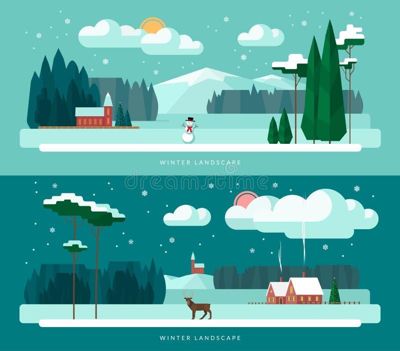 Los ejemplos del vector del paisaje del invierno fijaron en estilo plano del diseño ilustración del vector