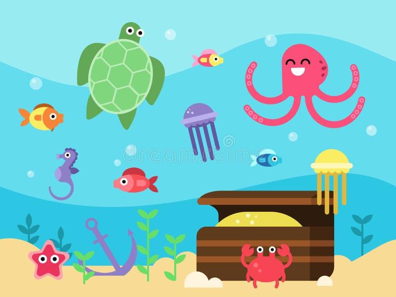Los ejemplos del vector fijaron de paisaje subacuático con los animales y los pescados de mar libre illustration