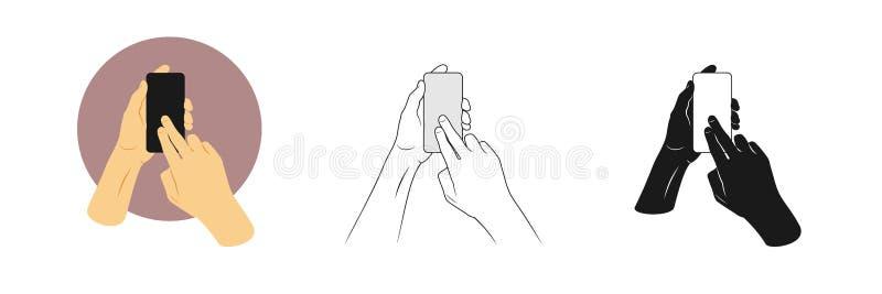 Los ejemplos del vector fijaron las manos del hombre sostienen smartphone y la pantalla táctil con dos fingeres libre illustration