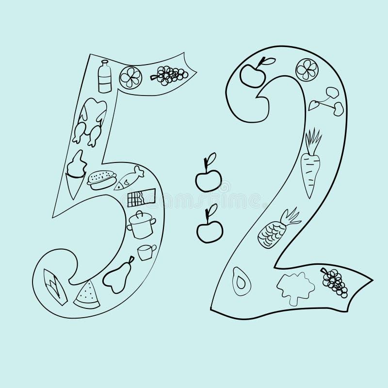 Los 5-2 ejemplos dibujados mano del vector de la dieta en estilo del garabato libre illustration