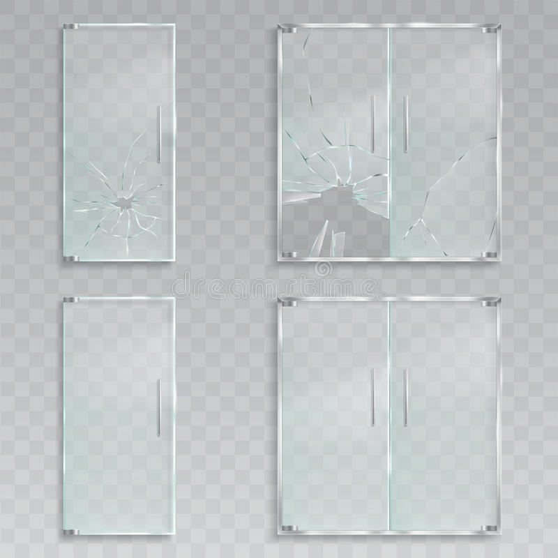 Los ejemplos realistas del vector de una disposición de las puertas de cristal de una entrada con el metal manejan el vidrio inde ilustración del vector