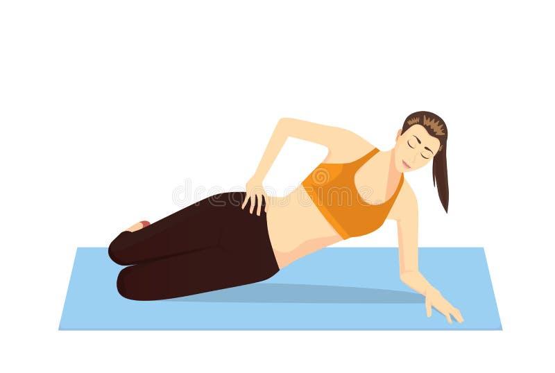 Los ejercicios abdominales laterales con la cadera lateral de mentira aumentan stock de ilustración
