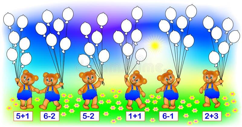 """Los ejercicios para el †de los niños """"necesitan solucionar ejemplos y pintar el número de correspondencia de globos stock de ilustración"""