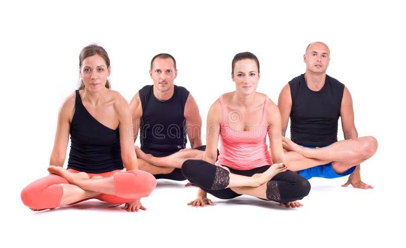 Los ejercicios practicantes de la yoga en el grupo/escala presentan - Tolasana imagen de archivo libre de regalías