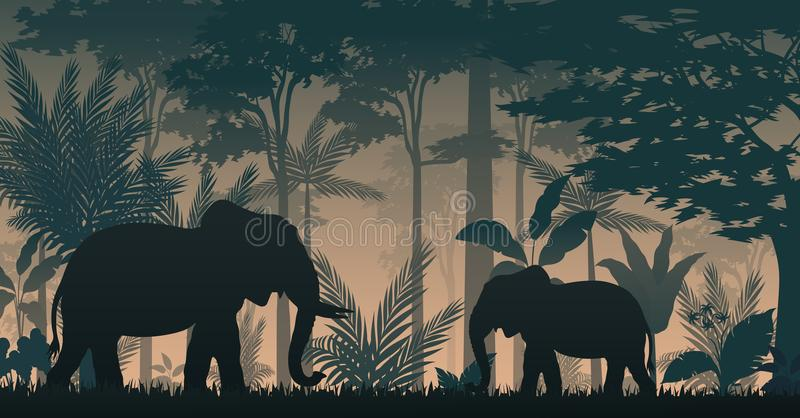 Los elefantes siluetean en el bosque interior ilustración del vector