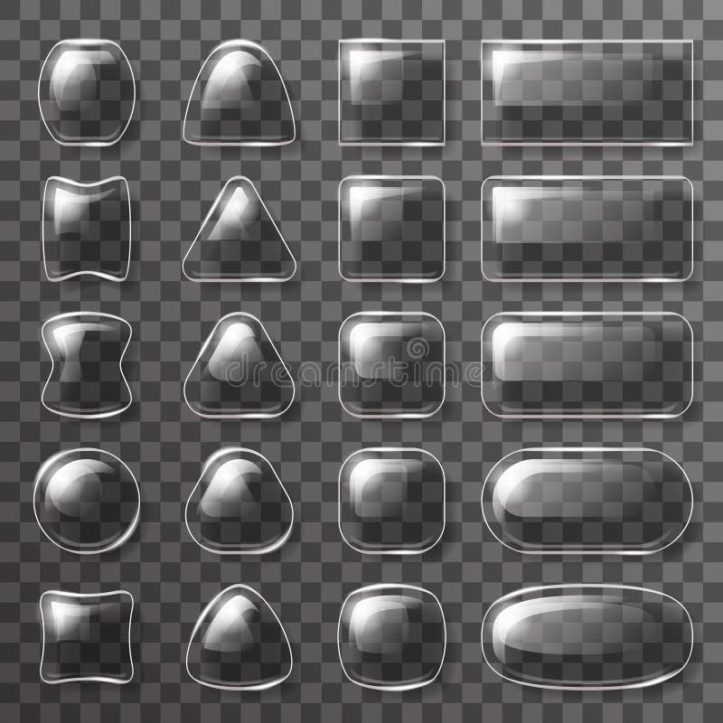 Los elementos brillantes del diseño transparente del fondo de los iconos del app de los botones del ui de la placa de cristal vec stock de ilustración