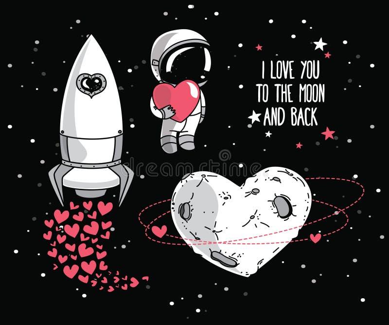 Los elementos cósmicos del garabato lindo para el día de tarjeta del día de San Valentín diseñan ilustración del vector